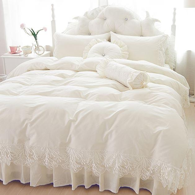 Ev ve Bahçe'ten Yatak Takımları'de Düğün dantel yatak örtüsü prenses yatak takımları kraliçe kral 4/6 adet Kız Ruffles nevresim yatak etek yatak örtüsü pamuk'da  Grup 1