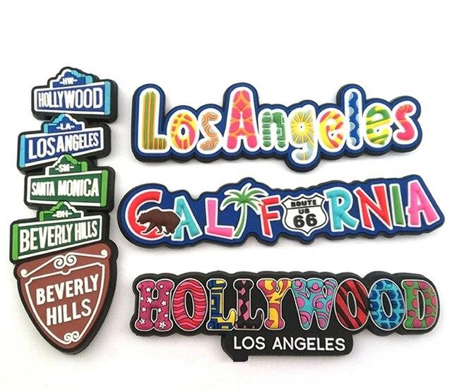 Hollywood Los Angeles California suave PVC 3D nevera Imanes EE. UU. Turismo recuerdos refrigerador adhesivo magnético decoración del hogar