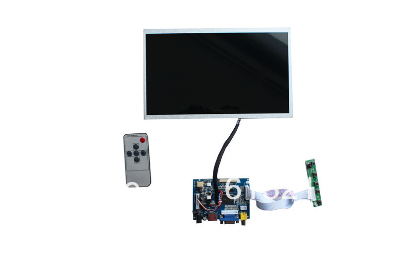 цена на HDMI+VGA+2AV  LCD controller board+B101EW02 V0+LVDS cable  +Remote control and receiver +OSD keypad with cable
