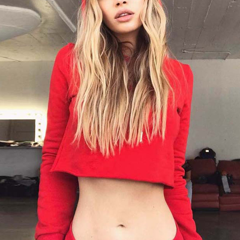 2 Pcs/Set Spring Autumn Women Sweatshirt With Hat Long Sleeve Solid Color Hoodie O Neck Crop Tops + Pants Lady Pullover