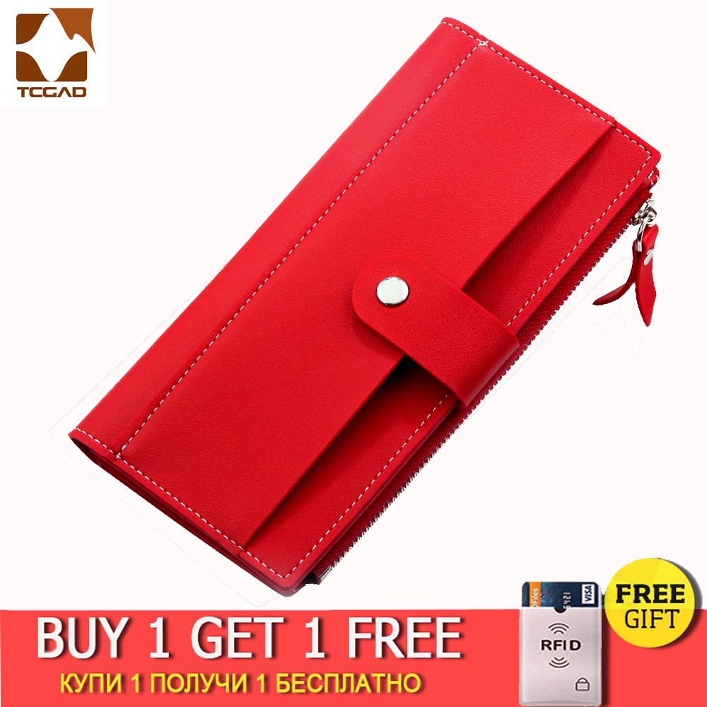 2019 Women's Wallet Long PU Red Wallet Porte Feuille Femme Female Purse Clutch Money Woman Wallet Billetera Mujer Carteras