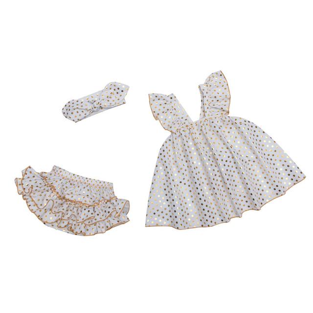 Branco princesa Romper vestido para os bebés ouro ponto do bebê recém-nascido shorts roupa do bebê bebés Romper primavera macacão de verão