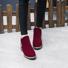 2017 Women martin boots suede autumn winter warm plush fur shoes woman feminina female motorcycle ankle boots women botas mujer