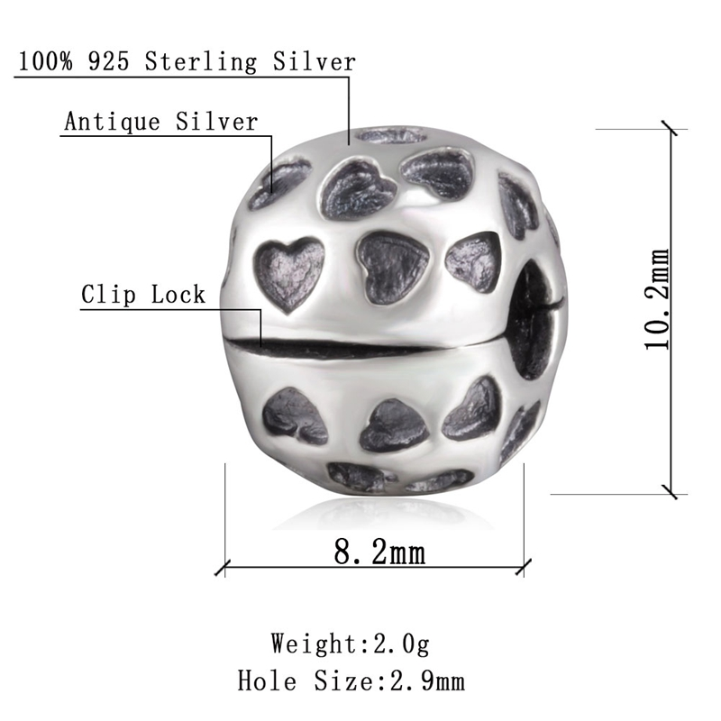 Sambaah Full of Hearts Love Clip 925 Antique Sterling Silver Love Stopper Beads fit Pandora Valentine 39 s Day Bracelet SS2567 in Beads from Jewelry amp Accessories