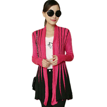 Sweater women 2016 new V-neck knit cardigan coat Slim long jumper gradient striped sweaters jacket clothing vestidos MMY475(China)