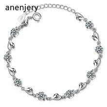ANENJERY – Bracelets en forme de cœur en argent Sterling 925 pour femmes, bijoux en Zircon délicat, cadeau de saint valentin, bijoux de mariage, S-B227