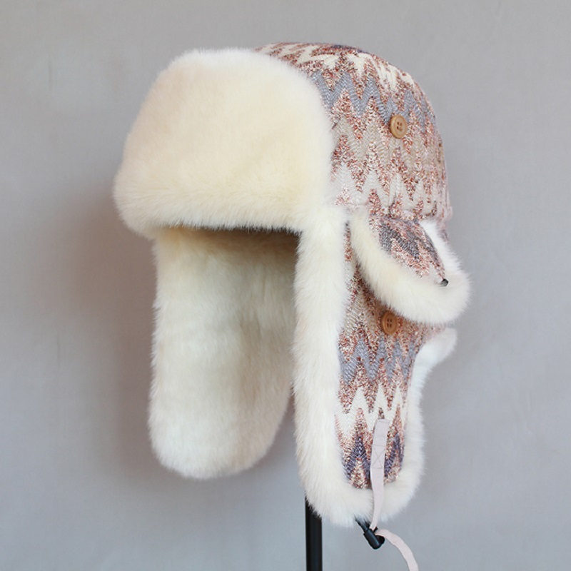 7732ed08f0385 2017 Bomber Hat Women Faux Fur Lining Earflap Outdoor Doom Hat Windproof  Thick Warm Winter Snow Hat Fashion Bomber Cap MZ015-in Bomber Hats from  Men s ...