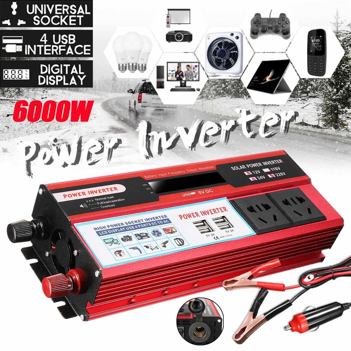 Onduleur de voiture 12V 110V 6000W Pe ak transformateur de tension DC 12 V/24 V à AC 110V onduleur pour batterie de voiture