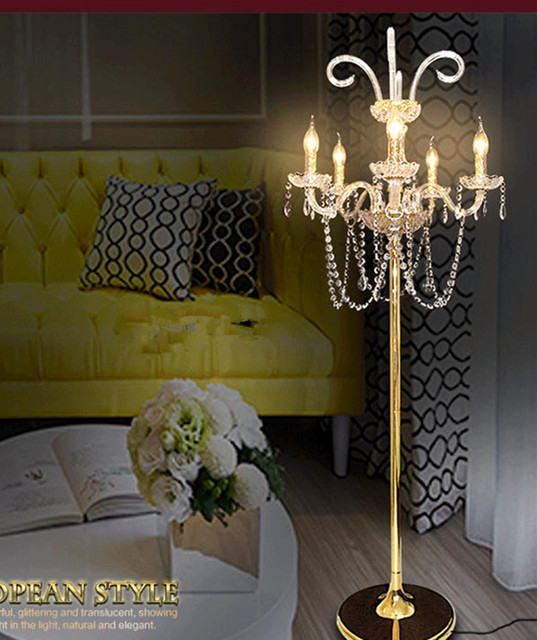 Free Shipping New Arrival Candle Crystal Floor Lamp Long Vertical Gold Wedding Candlestick Bedroom Tall Standing
