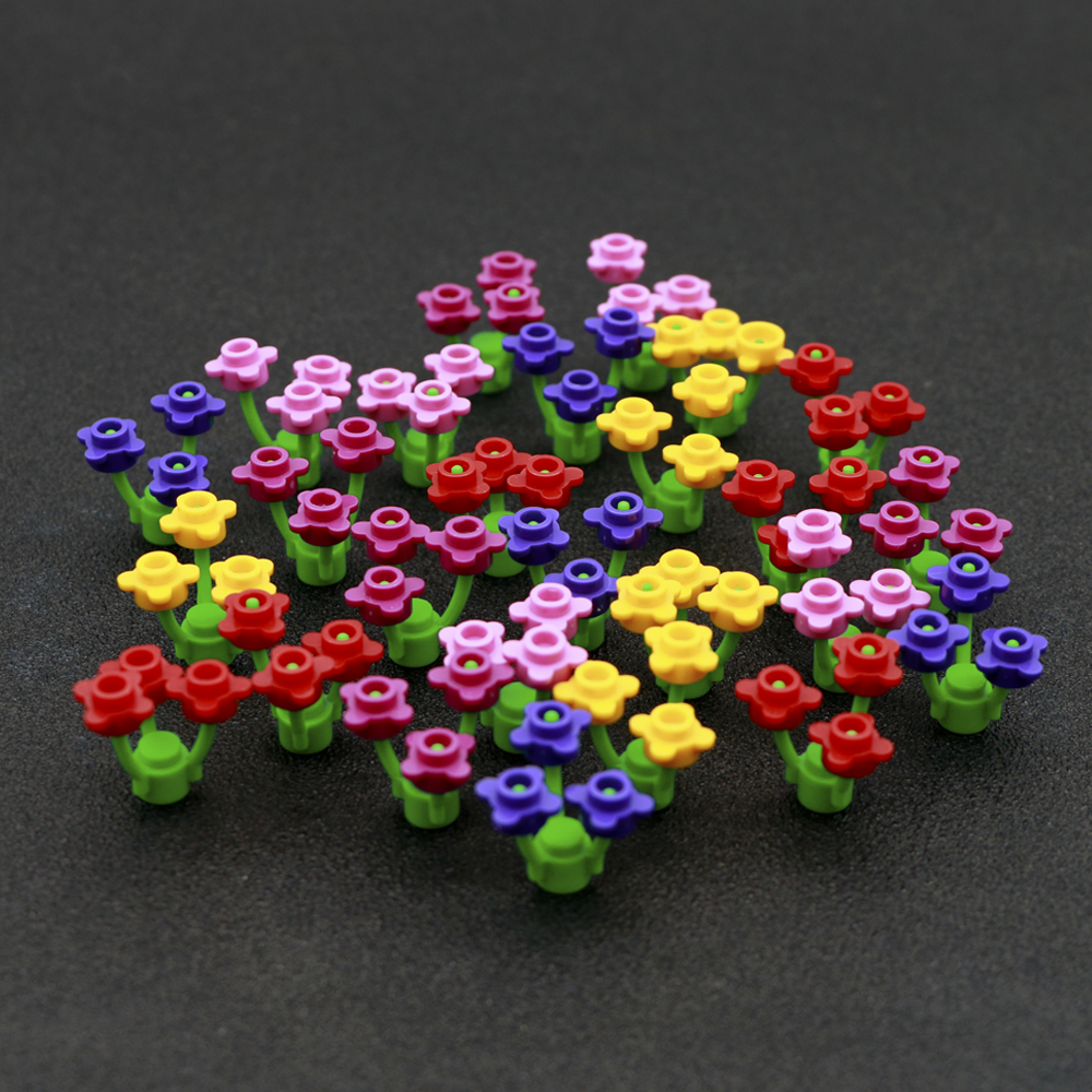City MOC Flower Accessory Building Blocks Mini Flower Green Plant Grass Friend Military Compatible LegoINGlys City Toys Children