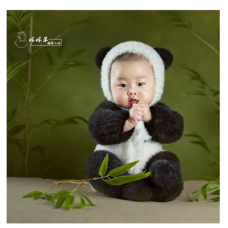 Panda-Outfits Knitted Newborn Baby for Photography-Props Faux-Fur