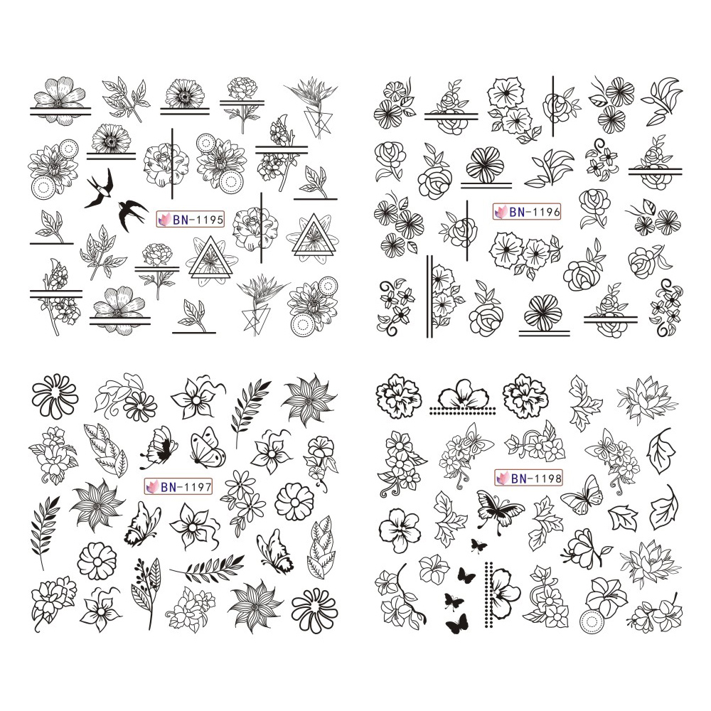 Image 4 - 12pcs Black Floral Butterfly Water Nail Stickers Hollow Design Nail Art Decal Water Transfer Slider Decor Manicure JIBN1189 1200-in Stickers & Decals from Beauty & Health