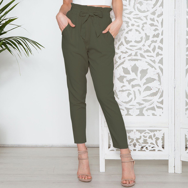 Cropped Paper Bag Pants High Waist Women Ankle Pants Pencil Slim Casual Trouser