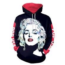 cd7035e9fa00 HX Newest Autumn Winter Marilyn Monroe 3D Print Hoodie Unisex Casual Tops  H095(China)
