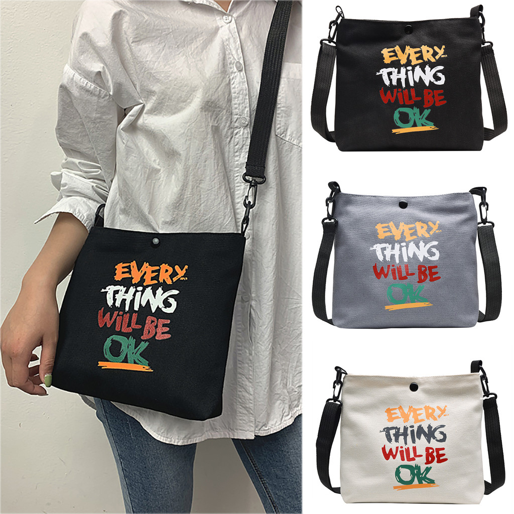2019 The New Messenger Bag Fashion Alphabet Canvas Bag Wild Wide Shoulder Strap Shoulder Bag