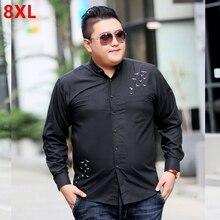 秋新ビッグ黒長袖シャツ、ビッグ男性脂肪レジャーショー薄型シャツ、黒綿刺繍、 8XL