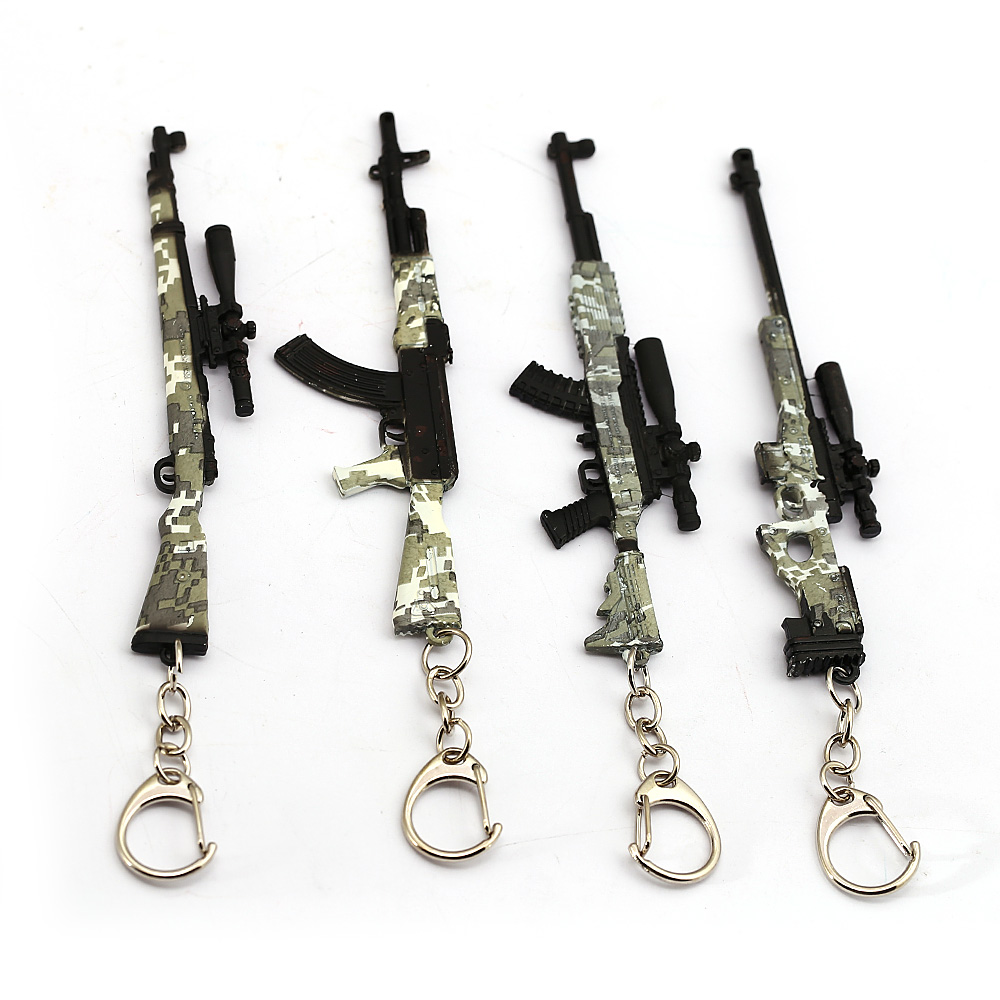 Playerunknown's Battlegrounds Keychain Game PUBG Camouflage Toy Gun Model Key Ring Bag Charm Key Chain Chaveiro Jewelry