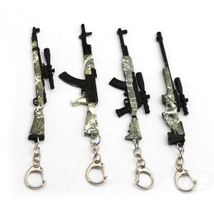 Playerunknown's Battlegrounds Keychain Game PUBG Camouflage Toy Gun Model Key Ring Bag Charm Key Chain Chaveiro Jewelry(China)