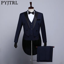 PYJTRL Male Classic Black White Navy Blue Tailcoat Tuxedo Wedding Grooms Suits For Men Party Prom Banquet Stage Singers Costume(China)