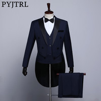 PYJTRL Male Classic Black White Navy Blue Tailcoat Tuxedo Wedding Grooms Suits For Men Party Prom Banquet Stage Singers Costume