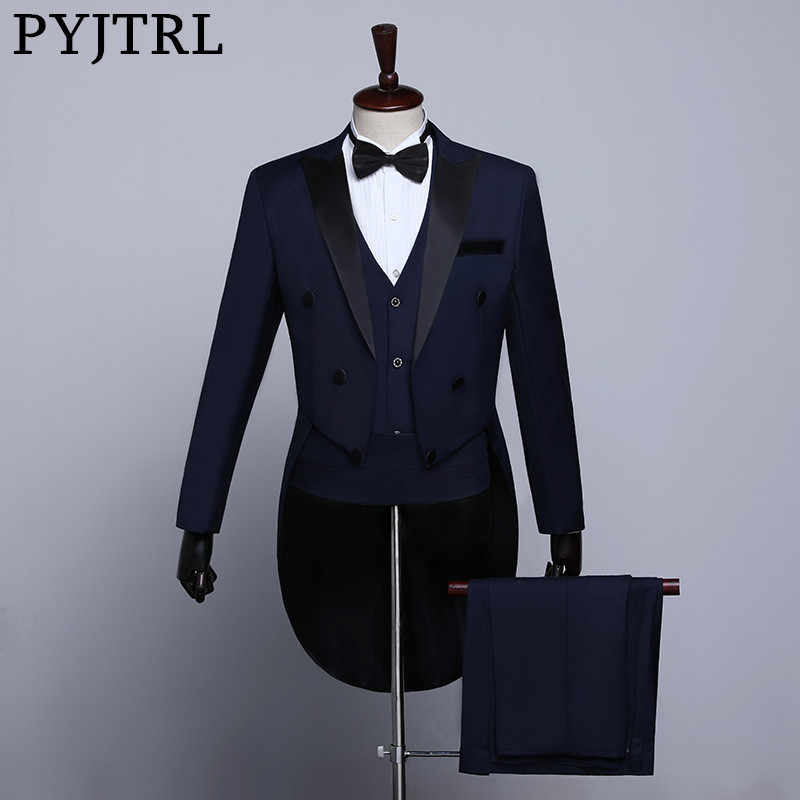 PYJTRL hombre clásico negro blanco azul marino traje de esmoquin de boda para hombres fiesta de graduación banquete traje de cantantes
