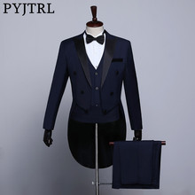 PYJTRL manteau de smoking pour hommes, classique, noir blanc bleu marine, costumes de marié de mariage pour bal bal, Banquet, scène et chanteurs