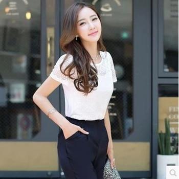 Ladies office Shirt Women White Lace Blouse Short Sleeve Plus Size Korean Crochet Hollow Out Tops Camisas Femininas Qz* 4
