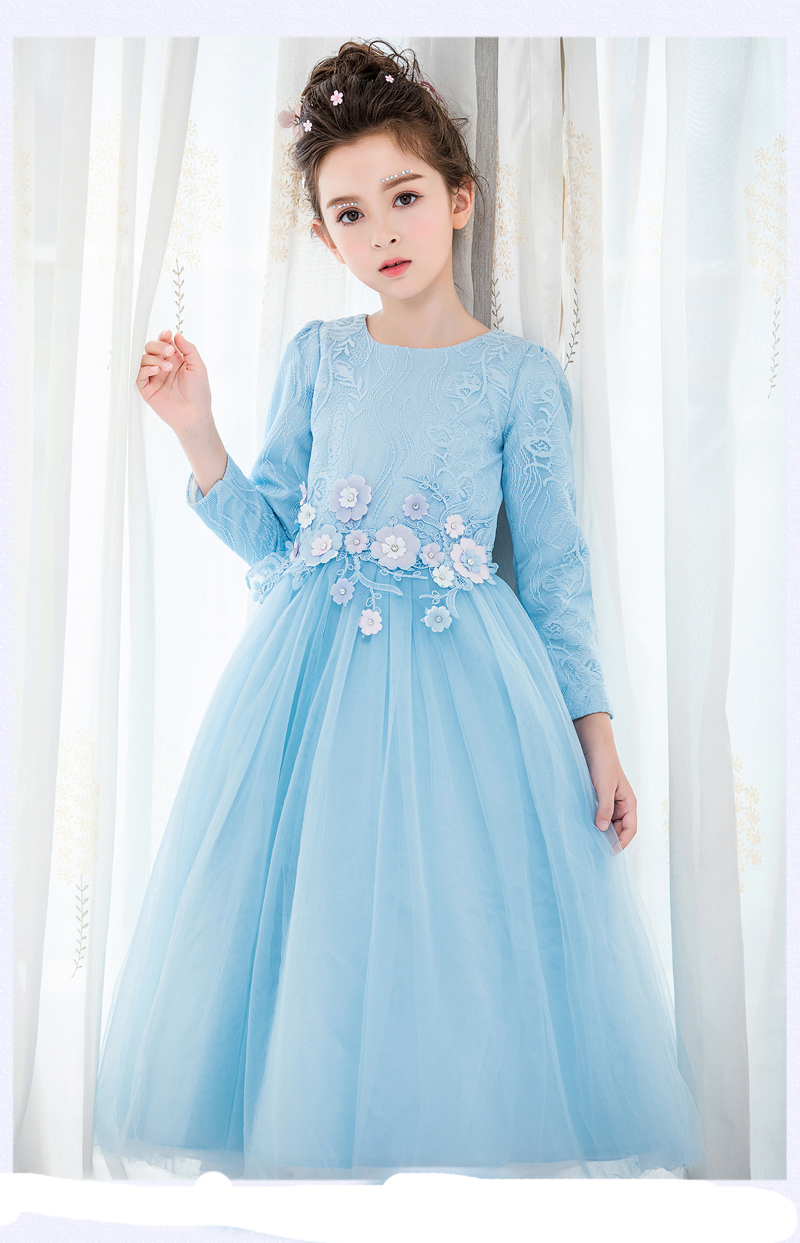 цена на Long Sleeve Lace Flower Girl Dresses for First Communion Dresses A-Line Pageant Dresses for Girls Tulle Mother Daughter Dresse