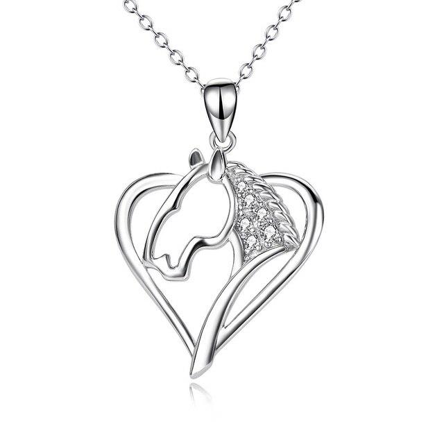 c718afbe5fd9 Nueva 20mm sólido 925 de plata esterlina corazón cabeza de caballo  afortunado colgante collar con cadena