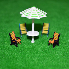 Teraysun 2018 New leisure chair sets scale model beach umbrella four model chairs in scale 1:100(China)