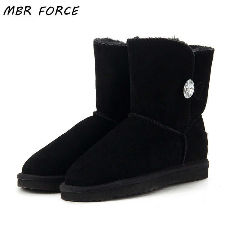 MBR FORCE High Quality Genuine Leather UG Australia Classic 100% Wool snow boots Women Boots Warm winter shoes for women US 3-13 ...