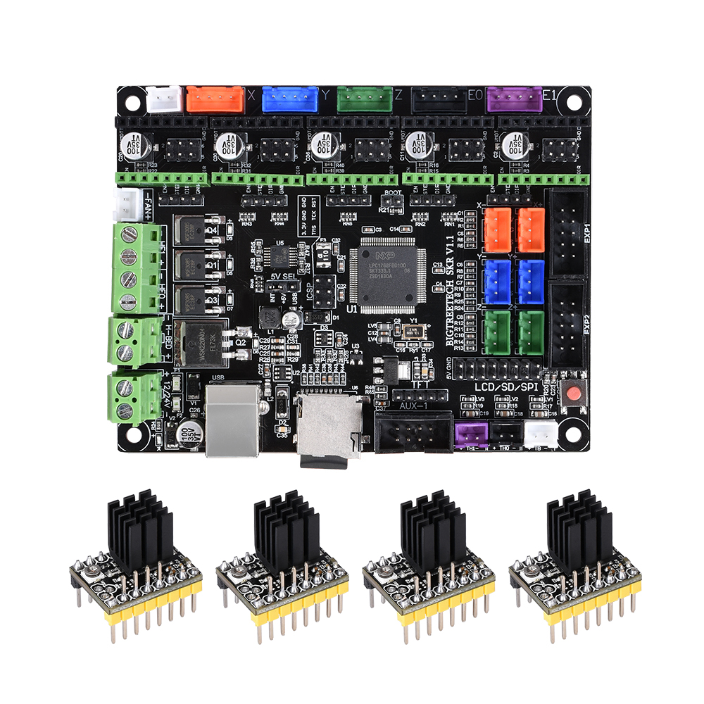 BIGTREETECH SKR V1 1 3D Printer Controller Board ARM 32 Bit Mainboard  TMC2208 TMC2100 Compatible Smoothieboard for 3d printer