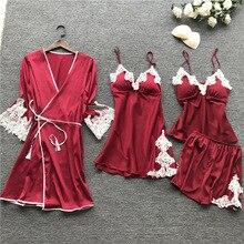 2019 여름 여성 잠옷 세트 민소매 4 조각 새틴 잠옷 실크 잠옷 파자마 스파게티 스트랩 pijama 가슴 패드