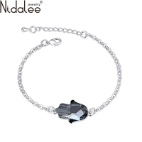 Nidalee 2016 New Fashion Fatima Hand Brand Real Crystal From Swarovski Bracelets Bangles For Women Wedding