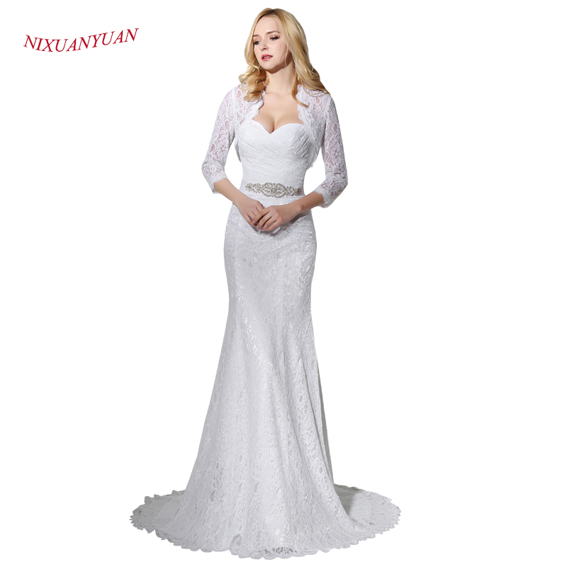 Elegant Hot Sale Bridal Wedding Gown Real Photo White Lace Mermaid Wedding Dress 2019 With Wedding Jacket Cheap Vestido De Noiva