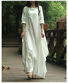 2016 New spring Summer Style Women Cotton Linen loose long Dress slash neck elegant China Style juniors maxi dress linen dress