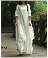 2016 New Spring Summer Style Women Cotton Linen Loose Long Dress Slash Neck Elegant China Style