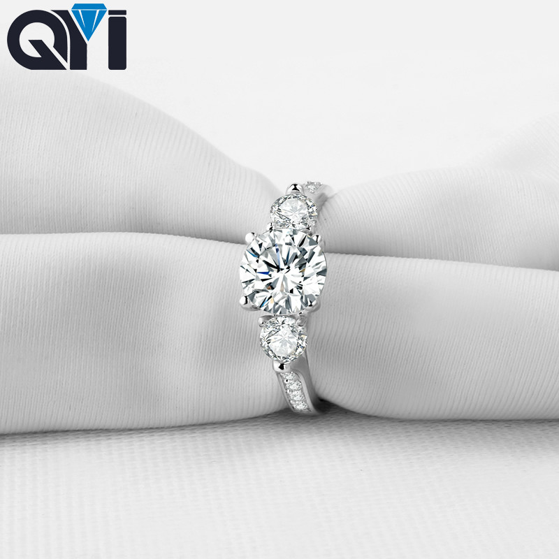QYI jewelry rings Round Cut 925 Sterling Silver Ring Three stones Women Engagement Jewelry Shining Zircon Wedding Rings Gift