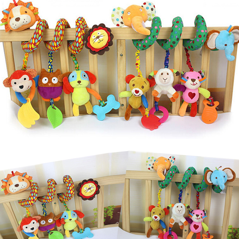 Double Head Lion Elephant Hanging Bell Crib Rattle Toys Infant Bed Rattle Ring Sound Activity Spiral Baby Bed Stroller Toys
