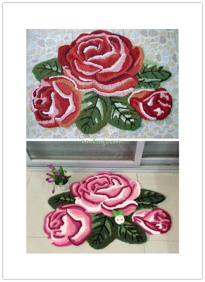 2014 Alfombra Tapetes De Sala European Style Decorative Carpet Floor Mats -3 Roses . Ottomans Bed Pad. Stairs Pad