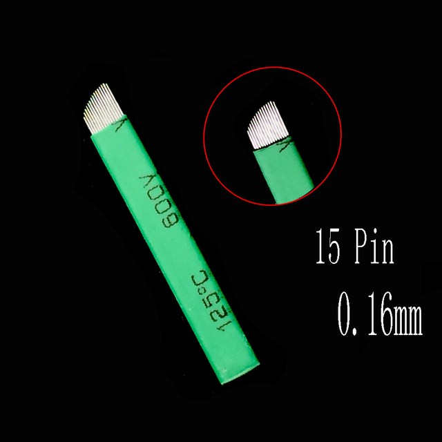 100Pcs 15 Lamina Tebori 15 Pin 0.16mm Microblading Needles for Permanent Makeup Tattoo Blade Eyebrow Manual Pen 3d Embroidery