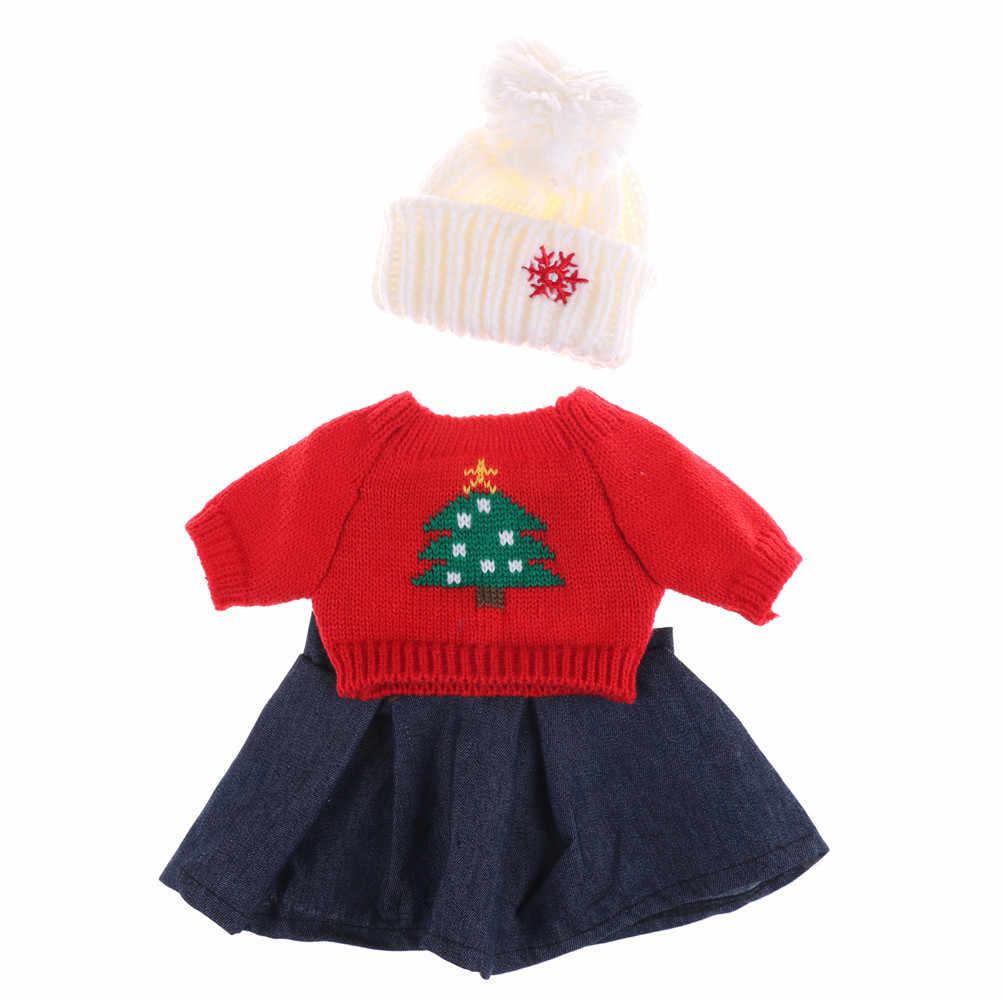 3 unids/set suéter recién nacido sombrero jeans vestido gorro de lana ajuste 18 pulgadas muñeca niña ropa de invierno establece niño chico regalo de cumpleaños