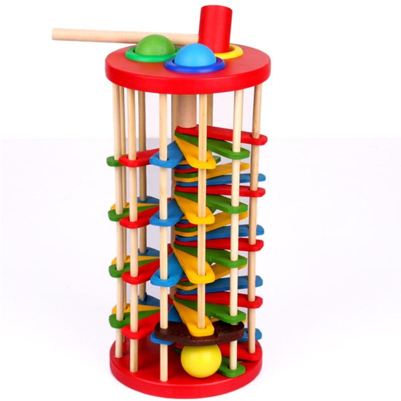 Montessori brinquedos educativos de madeira brinquedos para crianças aprendizagem precoce caterpillar come rolo torre de madeira com martelo bater jogos