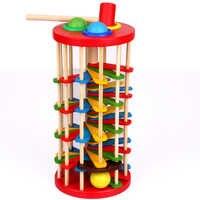 Монтессори игрушки развивающие деревянные игрушки для детей раннего обучения гусеница Едит рулон Деревянная башня с молотком стук игры
