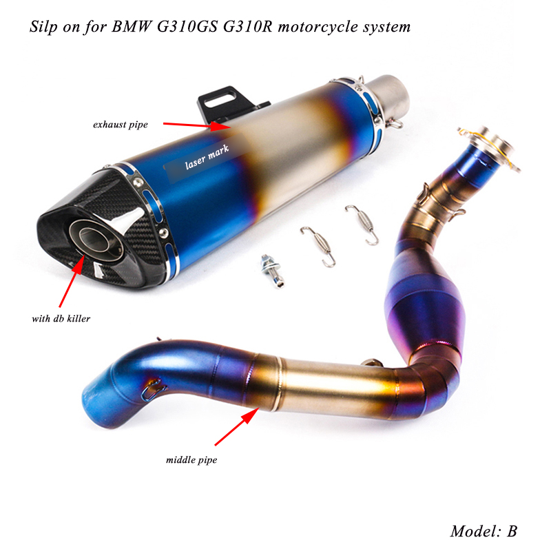 51mm Silencer System Motorcycle Modified Middle Connecting Pipe With Tail Exhaust Muffler Pipe Silp on for BMW G310GS G310R in Exhaust Exhaust Systems from Automobiles Motorcycles