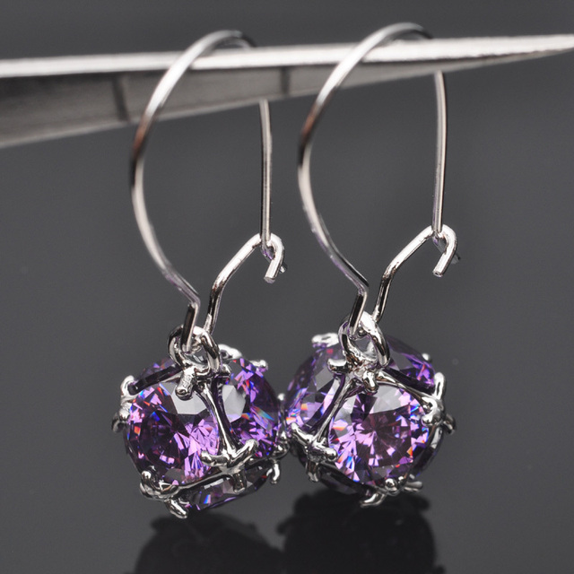 Unusual Purple Crystal Zirconia For Women Jewelry Silver Drop Earrings Free Shipping P02142