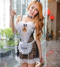 Sex Maid Lingerie Women Hot Lace Underwear Sexy Maid Costumes Babydoll Dress Sheer Erotic Lingerie Sexy Cosplay Uniform Lingerie