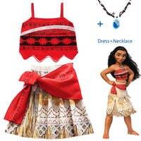 2018 Costume de princesse Moana Cosplay pour enfants Costume de robe Vaiana avec collier pour Costumes d'halloween pour enfants filles cadeaux
