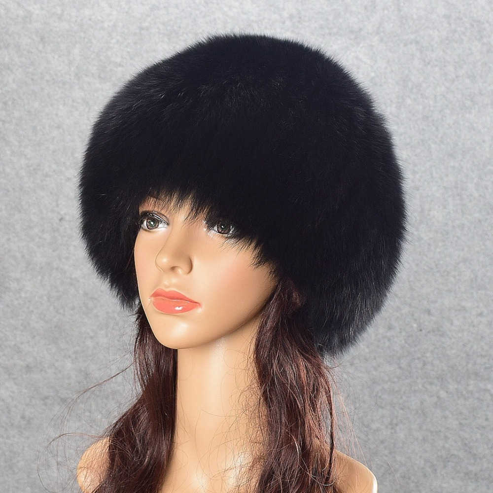 Real Fox Fur Pompom Hats Female Beanies Hat Natural Fox Fur Knitted New Skullies Beanies for