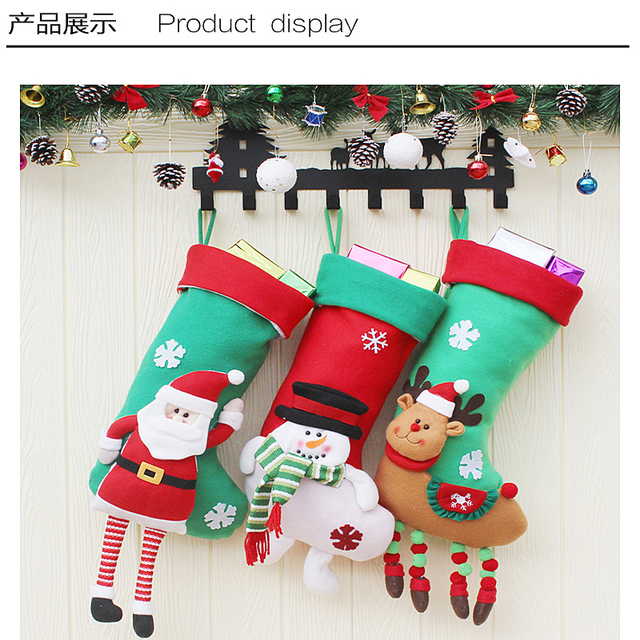 3pcslot santa claus snowman elk large christmas stockings christmas tree ornaments decorations xmas festival - Large Christmas Stockings